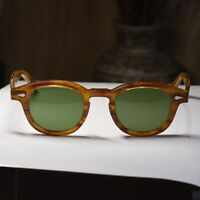 44mm Vintage Johnny Depp sunglasses mens dark BLONDE glasses green glass lenses