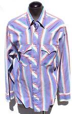 Vtg Mens Cowboy Western Wrangler Southwest Rodeo Strip Button Up Shirt Korea