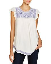 NWT $218 Joie 'Rankin' Embroidered Flutter Sleeve Peasant Top XXS 2XS X-X-SMALL