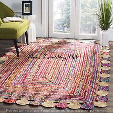 Jute Cotton Braided Floor Reversible Handmade Decorative 5 x 8 Ft Carpet Rag Rug
