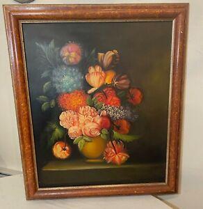 vintage original botanical flower floral vase still life oil painting wood frame