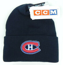 MONTREAL CANADIENS NHL NAVY VTG KNIT CUFFED BEANIE SKI WINTER CAP HAT NEW! CCM