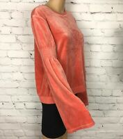 Juicy Couture Black Label Shirt Top Velvet Velour Coral Bell Sleeves Ruched M