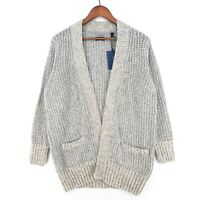 GANT Grey Cotton Wool Blend Chunky Cardigan Sweater Size M