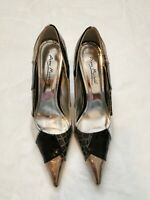 Anne Michelle Fly 31 women's silver pumps pointed toe stiletto heels size 6.5