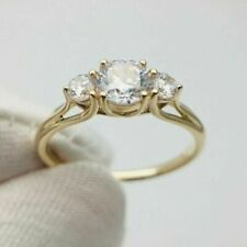 2Ct Round Moissanite Diamond Three Stone Engagement Rings Solid 14K Yellow Gold