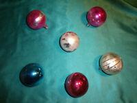 ~ 6 alte Christbaumkugeln Glas rot silber pink blau Sterne Weihnachtskugeln CBS