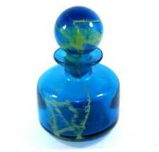 Vintage large teal & gold swirl bottle decanter with stopper (Mdina?)