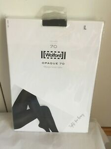 Wolford 70 Denier Opaque Tights in LARGE in Black UK 14-16  perfect condition