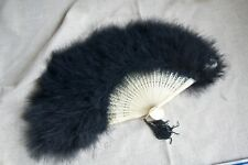 Vintage Black Ostrich Feather Fan with White / Cream Celluloid Handle & Tassel