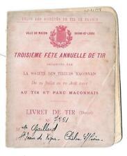 Livret de Tir - XVII ème Concours de 1903 - MACON (71) -  Tir de France -