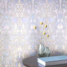 Vinyl Non-Woven Wallpaper White Gold Blue wallcoverings roll textured damask 3D