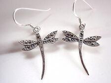 Dangle Corona Sun Jewelry Dainty Dragonfly Marcasite Earrings Sterling Silver