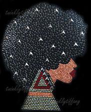 "HOTFIX RHINESTONES HEAT TRANSFER IRON ON ""AFRO GIRL PERM HAIR AKA BLING"""
