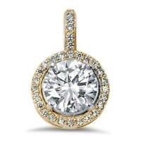 2.5 ct. White Sapphire Halo Pendant Necklace ~ Yellow Gold/Sterling Silver