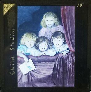 VICTORIAN MAGIC LANTERN GLASS SLIDE / CHILD STUDIES / HAND TINTED