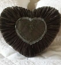 Charcoal Grey French Country Cushion / Throw Pillow Heart Velvet + Lace