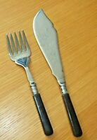 Vintage Silver fish serving knife and fork Set beautifully engraved