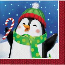 16 x Penguin Christmas Paper Beverage Drinks Napkins Child Party Napkins