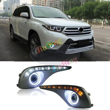 For Toyota Highlander 2012-14 COB Angel Eye Lens+DRL Turn Fog Light Cover Trim