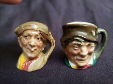 "2 Royal Doulton Miniature Toby Jugs Mugs 1 3/8"" Tall England Vguc"