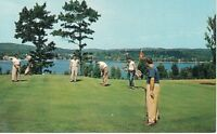 Postcard NY Concord Hotel Catskills Chrome Golf Golfing Lake Flag VTG Clothes