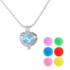Heart Locket Perfume Oil Essential Aromatherapy Diffuser Pendant Necklace New