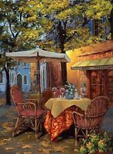 "Viktor Shvaiko ""Piazza Di Viterbo""  Evening Cafe Scene HS# Embellished Canvas"