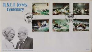"""Jersey Stamps """"Queen Mother Royal Visit - Jersey RNLI"""" First Day Cover 1984"""