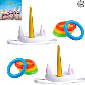 UNICORN HORN & HOOP GAME INFLATABLE Hoopla Toy Set Kids Fun Activity X99428 UK