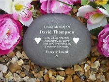 Grave Marker - Large Pebble (Stone Effect).  Personalised - Weatherproof - Heart