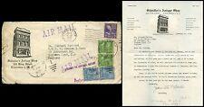 USA 1952 ILLUSTRATED ENVELOPE SCHINDLERS ANTIQUE SHOP + LETTER CHARLESTON...FISH