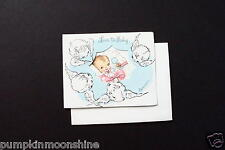 Vintage Unused Eve Rockwell New Baby Greeting Gift Card Sweet Baby in Pink Bow