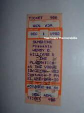 PLASMATICS 1982 Concert Ticket VOGUE THEATRE INDIANAPOLIS Wendy O. Williams RARE