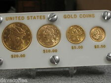 US GOLD 4 PIECE TYPE SET-VERY ATTRACTIVE SPECIMENS-FREE SHIPPING