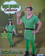 MENS ELF ROBIN HOOD PETER PAN FANCY DRESS COSTUME & HAT