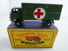 VINTAGE MATCHBOX LESNEY No.63b FORD MILITARY AMBULANCE IN ORIGINAL BOX 1959