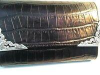Brighton Black Leather Crossbody Organizer Wallet Ornate Silver Trim