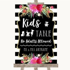Wedding Sign Poster Print Black & White Stripes Pink Kids Table