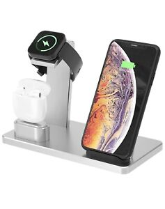 3 in 1 Wireless Charger Dock Stand Charging Station - iPhone AppleWatch Silver