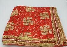 Red Wedding Indian net Chunni Dupatta head covering Hindu Pooja function