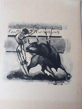 Vintage Signed Mid Twentieth Century Bullfighter Watercolor