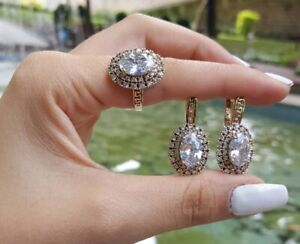 925 Sterling Silver Turkish Handmade Jewelry Zircon Ladie's Sets