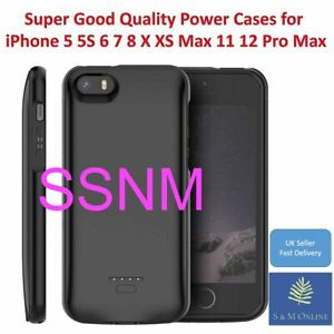 External Battery power Case for iPhone 5 5s 6 7 8 X XS MAX XR 11 12 pro max - UK