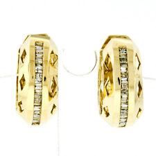 14K Yellow Gold .50ctw Channel Baguette Diamond Open Work Hoop Huggie Earrings