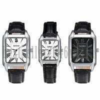 Women Men Square Dial Roman Numerals Leather Band Quartz Analog Wrist Watch