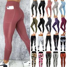 New listing Women Yoga Pants High Waist Gym Leggings Pockets Exercise Workout Trousers Print
