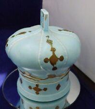 Vintage Blue Gold Ceramic 2 Piece Trinket Box Vanity Set Crown King Queen