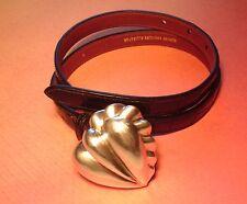 STERLING SILVER BARRY KIESELSTEIN CORD HEART BUCKLE & BLACK ALLIGATOR BELT SMALL