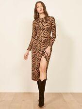NEW REFORMATION Rajah Animal Tiger Stripe Print MAURITA Wrap Skirt Midi Dress 6